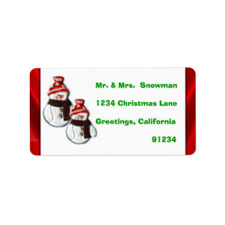 Cute Snowman Family Of Two Return Address Labels