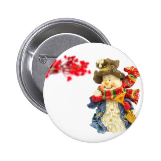 Cute snowman figurine with red berries on white 2 inch round button