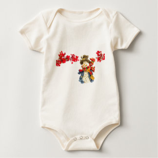 Cute snowman figurine with red berries on white baby bodysuit
