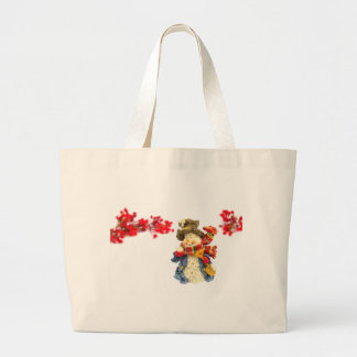 Cute snowman figurine with red berries on white large tote bag