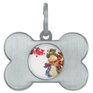 Cute snowman figurine with red berries on white pet tag