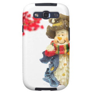 Cute snowman figurine with red berries on white samsung galaxy SIII cases