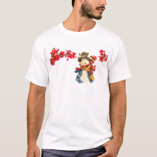 Cute snowman figurine with red berries on white T-Shirt