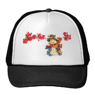 Cute snowman figurine with red berries on white trucker hat
