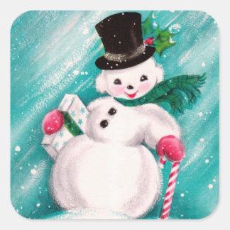 Cute Snowman Girl Square Sticker