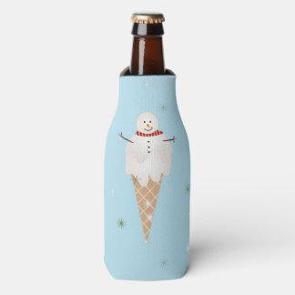 Cute Snowman Ice Cream Custom Bottle Cooler