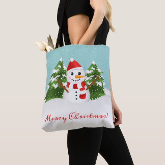 Cute Snowman Illustration And Merry Christmas Text Tote Bag