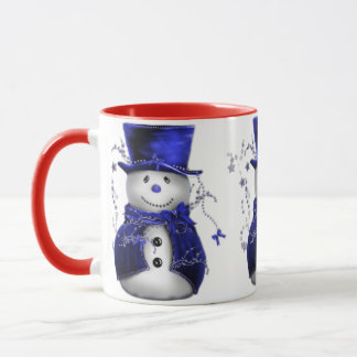 Cute Snowman in Blue Velvet Christmas Mug