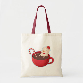 Cute Snowman in Hot Cocoa Christmas Tote