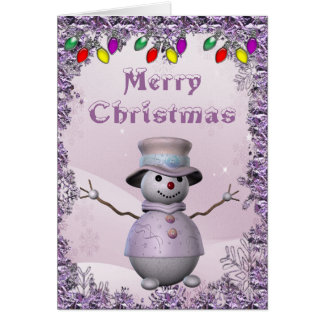 Cute Snowman in Lilac Christmas Card