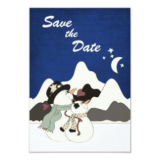 "Cute Snowman Mountain Wedding Save the Date 3.5"" X 5"" Invitation Card"