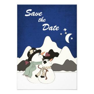 Cute Snowman Mountain Wedding Save the Date Announcements