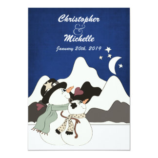 "Cute Snowman Night Mountain Wedding Invitation 5"" X 7"" Invitation Card"