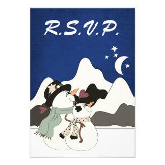 Cute Snowman Night Mountain Wedding RSVP Cards