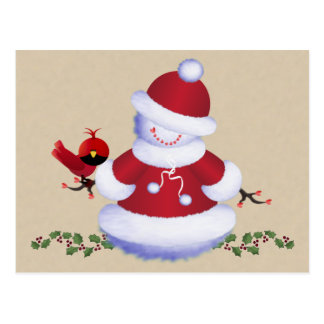 Cute Snowman Postcard with Bird for Kids, Holiday
