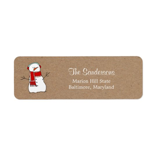 Cute Snowman Red Scarf Kraft Paper Holiday