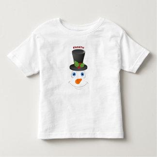 Cute Snowman Wearing Hat Customizable Message Toddler T-shirt
