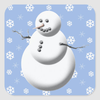 Cute Snowman Winter Blue And White Holiday Square Sticker