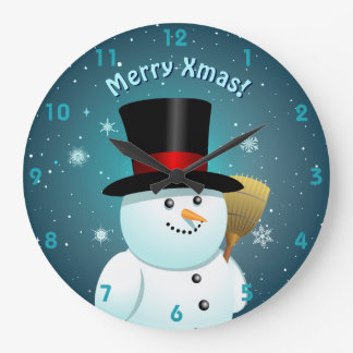 Cute Snowman With Black Felt Top Hat Large Clock