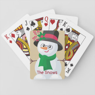 Cute  Snowman with Black Hat/ Playing Cards