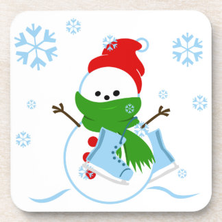 Cute Snowman with Ice Skates Drink Coaster