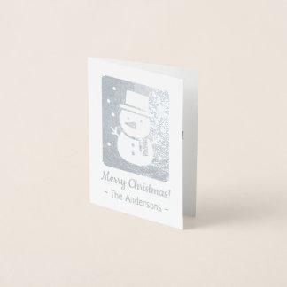 Cute Snowman with Scarf Silver Foil Christmas Card