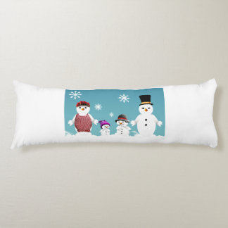 Cute Snowman's family for Christmas Body Pillow
