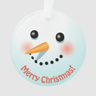 Cute Snowman's Head Customized With Your Text Ornament