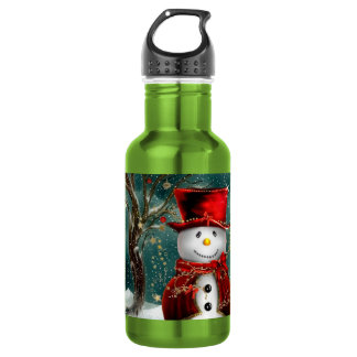Cute snowmans - snowman illustration 532 ml water bottle