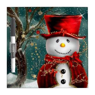 Cute snowmans - snowman illustration dry erase board
