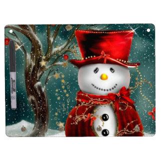 Cute snowmans - snowman illustration dry erase board with keychain holder