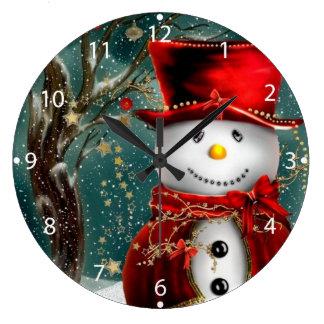 Cute snowmans - snowman illustration large clock