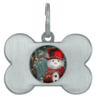 Cute snowmans - snowman illustration pet ID tag