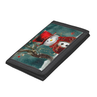 Cute snowmans - snowman illustration tri-fold wallet