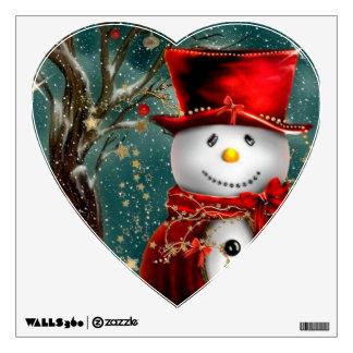 Cute snowmans - snowman illustration wall sticker