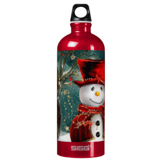 Cute snowmans - snowman illustration water bottle