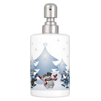 Cute Snowmen and Reindeer with Blue Color Scheme Soap Dispenser And Toothbrush Holder