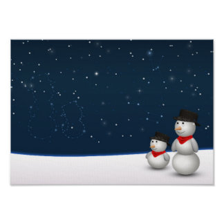 Cute Snowmen Constellation - Poster