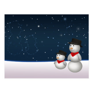 Cute Snowmen Constellation - Xmas Postcard