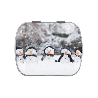 Cute snowmen dressed for winter