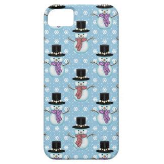 Cute Snowmen on Pale Blue Pattern iPhone 5 Case