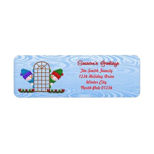 Cute Snowmen Season's Greetings Return Address Label
