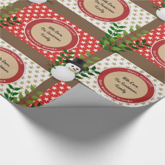 Cute Snowmen Stars & Berries Personalize Christmas Wrapping Paper