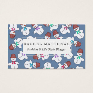 Cute Snowmen Watercolor Winter Christmas Pattern Business Card