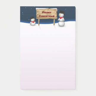 Cute Snowmen with Christmas Sign - Post-it® Notes