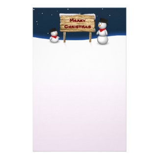 Cute Snowmen with Christmas Sign - Stationery