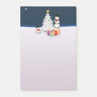 Cute Snowmen with Christmas Tree - Post-it® Notes