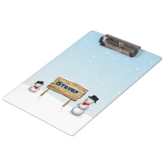 Cute Snowmen with Name Wood Sign - Clipboard