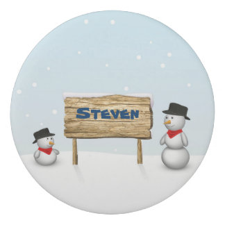 Cute Snowmen with Name Wood Sign - Eraser