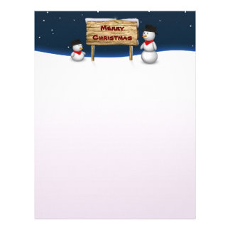 Cute Snowmen with Sign - Christmas Stationery Letterhead Design
